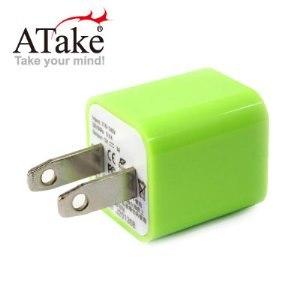 ATake~AC電源轉USB電源轉接頭^(螢光綠^)SAC~USB1A01~PGN