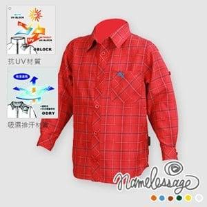 【namelessage】春裝優惠!日本無名世代童款吸濕排汗抗UV防曬格紋長袖襯衫(紅)