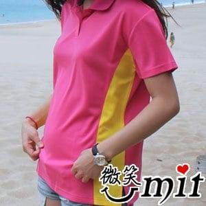 【微笑MIT】CHIAMEI/佳美-咖啡紗針織POLO杉 女款MS-301006(桃紅)