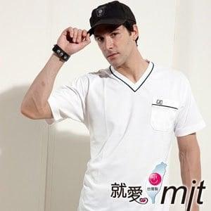 【微笑MIT】 Aiken Sport艾肯/伯國-男款短袖 經典V領T恤 吸濕排汗衫 AK8516(純淨白)