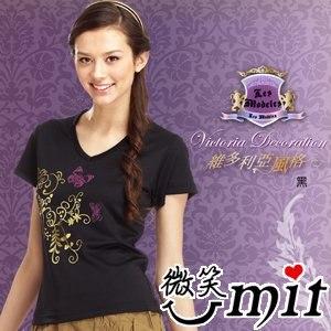 【微笑MIT】瑪蒂斯/盛銘-女短V領T恤 奈米竹炭排汗衣 百和黑絲絨 彩繪金蔥 T2601(黑)