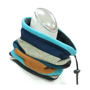 簡約刷絨保暖脖圍(條紋藍)