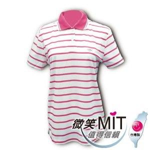 【微笑MIT】CHIAMEI/佳美-吸濕排汗紗針織POLO杉 女款V301108(桃紅色條紋)