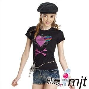 【微笑MIT】瑪蒂斯/盛銘-女短T恤 奈米竹炭排汗衣 百和黑絲絨 彩繪金蔥 T2608(黑)