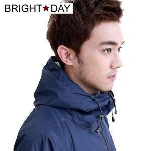 【BrightDay】風雨衣兩件式 日系刷毛潮流款(深藍)