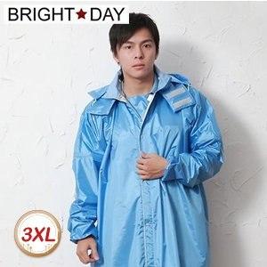 【BrightDay】風雨衣連身式 亮采前開款(水藍)★贈雨鞋套-3XL