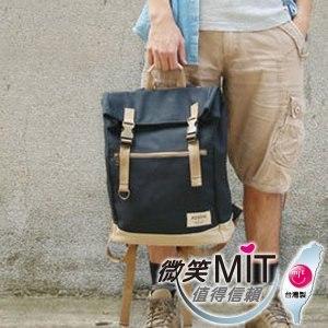 【微笑MIT】KOPER【不平帆】復古雙釦帆布後背包 11052A-01(煙燻黑)