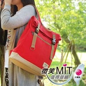 【微笑MIT】KOPER/金和鋒-【不平帆】復古雙釦帆布後背包 11052A-03(甜蜜紅)
