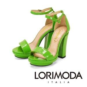 【LORIMODA】一字漆面涼鞋粗高跟真皮桃紅底 GIOIA.1(葉子綠)