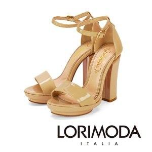 【LORIMODA】一字漆面涼鞋粗高跟真皮桃紅底 GIOIA.1(灰褐)