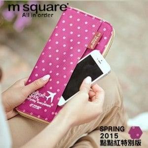 ~M square~拉鍊護照夾^(點點紅^)