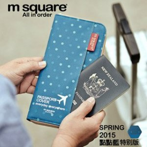 ~M square~拉鍊護照夾^(點點藍^)