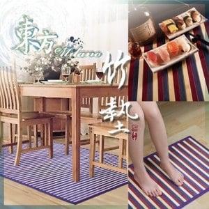 【契斯特】東方米蘭諾100%天然竹紫竹彩條(防滑餐墊*4+地墊*1+腳踏墊*1)大全組