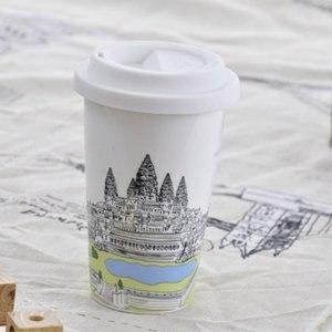 ~Bella House~我不是紙杯 城市風情系列 雙層陶瓷杯^(柬埔寨 吳哥窟^)