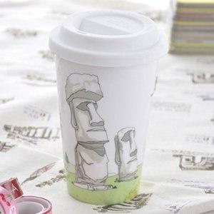 【Bella House】我不是紙杯 城市風情系列 雙層陶瓷杯(智利復活島 莫埃(Moai)巨人石雕群像)