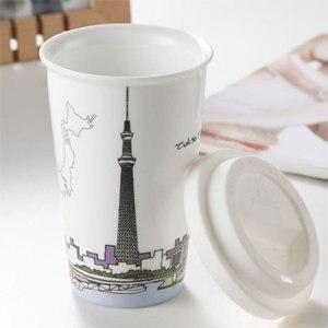 【Bella House】我不是紙杯 城市風情系列 雙層陶瓷杯(日本 晴空塔)