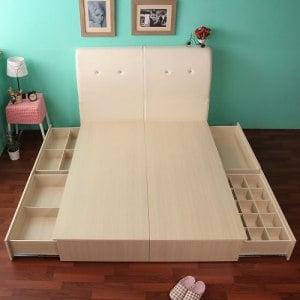 《契斯特》魔術收納雙邊抽屜床底床組(床底+床頭)-雙人(英倫白)