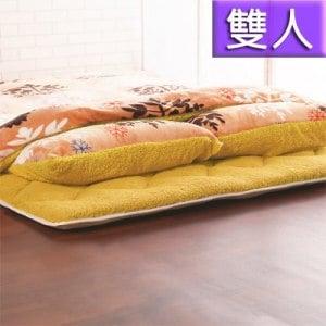 《契斯特》柔暖羊羔絨日式床墊被套枕套四件組-雙人(暖橘雪花)