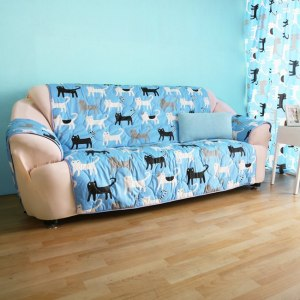 【ICE PAD】涼感精梳棉沙發保潔墊-1+2+3人座-藍色喵喵
