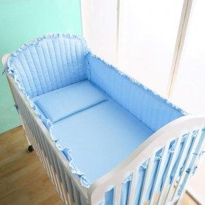 【Homebeauty】精梳棉嬰兒床圍套組六件式-天空藍