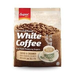 【超級Super】二合一炭燒白咖啡(無糖)-25gx15入/袋