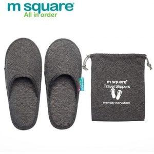 【M Square】旅行舒適棉 包頭拖鞋(灰色)