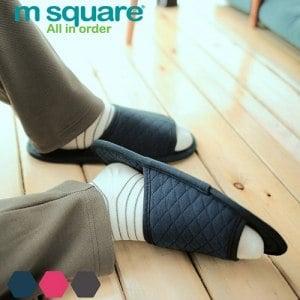 【M Square】旅行舒適棉 開口拖鞋(深藍)