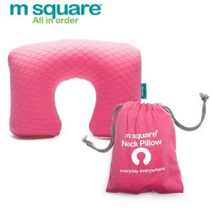 【M Square】旅行舒適棉充氣頸枕(粉色)
