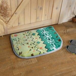【HomeBeauty】法蘭絨超吸水高回彈特大門口墊50x70cm-綠春花漾