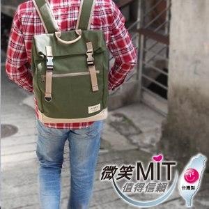 【微笑MIT】KOPER【不平帆】復古雙釦帆布後背包 11052A-09(軍綠)