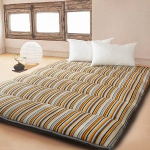 【契斯特】法蘭絨x羊羔絨八公分超厚實京都日式床墊-雙人特大-質感條紋