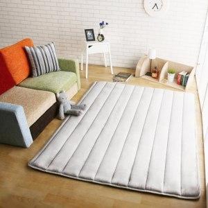 【HomeBeauty】舒柔柔法蘭絨極厚矩形加大地墊-150x180cm-牛奶白