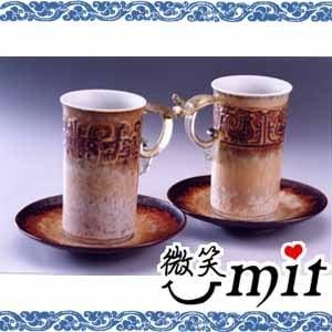 【微笑MIT】存仁堂/存仁堂藝瓷-茶末龍鳳合歡杯