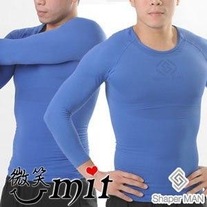【微笑MIT】Shaper MAN/聯樂製襪-肌力機能衣 男性塑身衣長袖(藍)