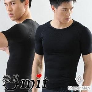 【微笑MIT】Shaper MAN/聯樂製襪-肌力機能衣 男性塑身衣短袖(黑)
