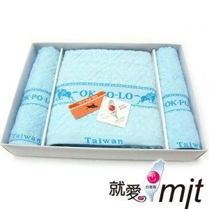 【微笑MIT】OK-PO-LO/信發行-宮廷花禮盒(毛巾2入+浴巾1入) A003(藍色)