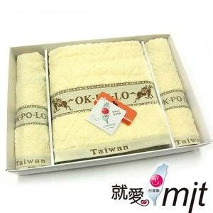 【微笑MIT】OK-PO-LO/信發行-宮廷花禮盒(毛巾2入+浴巾1入) A003(黃色)