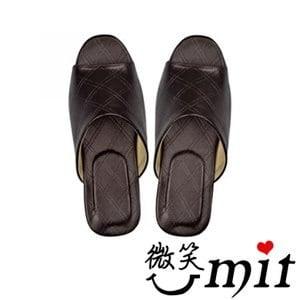 【微笑MIT】騰祥-菱格紋舒適皮拖/一雙入 SA1202CM(咖啡/M)