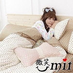 【微笑MIT】Cosy Bedding/蔻絲-東京迷情四件式「精梳棉」雙人床包組(深情咖啡)