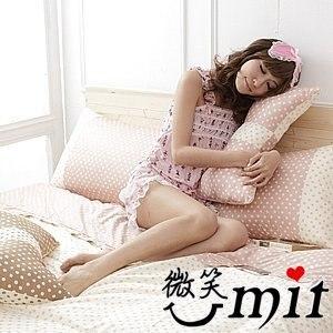【微笑MIT】Cosy Bedding/蔻絲-東京迷情四件式「精梳棉」雙人床包組(嫩粉圓點)