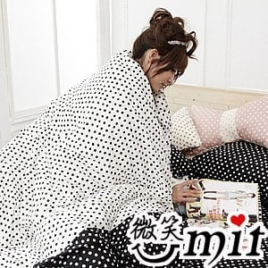 【微笑MIT】Cosy Bedding/蔻絲-東京迷情四件式「精梳棉」雙人床包組(典雅黑)