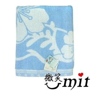 【微笑MIT】舒特/千元棉織-梅花雙色提花浴巾 YJC-521(藍色)