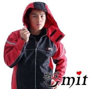 【微笑MIT】BrightDay/暉晉-風雨衣兩件式 蜜絲絨重機款(紅灰)★贈雨鞋套