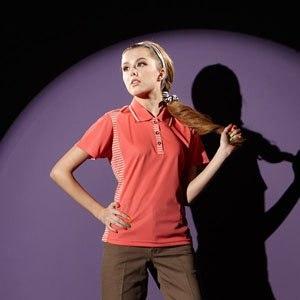 【微笑MIT】 Aiken Sport艾肯/伯國-女款短袖 3M吸濕排汗POLO衫 AK13712(橘紅)