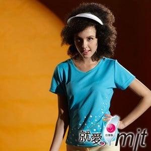 【微笑MIT】 Aiken Sport艾肯/伯國-女款短袖 顯瘦V領T恤 吸濕排汗衫 AK13751(圓點藍)