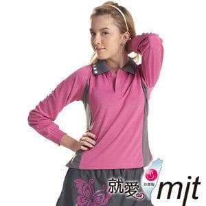 【微笑MIT】瑪蒂斯/盛銘-女長袖POLO 奈米竹炭保暖衣 百和黑絲絨 G6203B(桃紅)