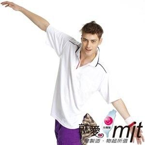 【微笑MIT】瑪蒂斯/盛銘-男短POLO 吸濕排汗衣  抗UV U1101(白)