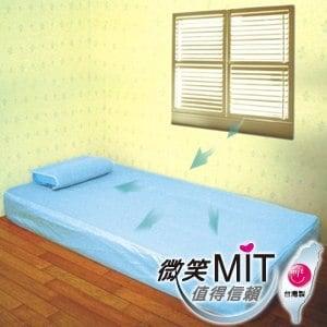 【微笑MIT】自然風/村林欣-節能透氣床墊 單人床(水藍)
