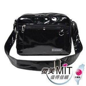 【微笑MIT】Confidence 高飛登/晟旭-流行鏡面側背包 CB1381-9(神秘黑/中)