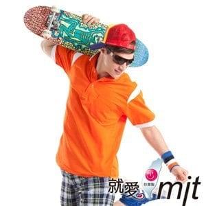 【微笑MIT】瑪蒂斯/盛銘-Hi Cool吸濕排汗衣 男短POLO P868(橘/白)